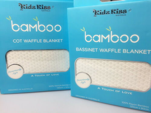 1 x Bassinet + 1 x Cot Kidz Kiss 100/% Bamboo Waffle Blanket Set