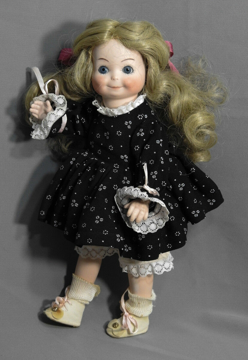ANTIQUE REPRODUCTION GERMANY DOLL ALL BISQUE 12 TALL DRESSED 253