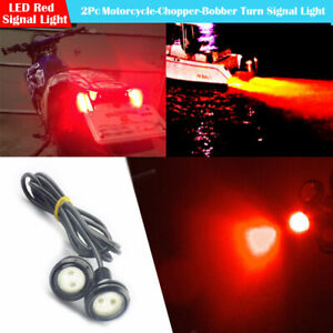 1 Pair Small LED Black DOME Motorcycle-Chopper-Bobber Turn Signal Lights-Red