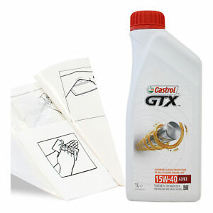 Engine-Oil-Top-Up-1-LITRE-Castrol-GTX-15w-40-A3-B3-1L-Gloves-Wipes-Funnel