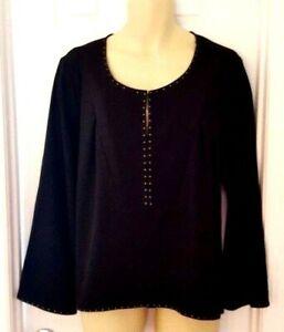 ModaMix-Womens-Tunic-Size-18W-Black-Stitch-Fix-Brass-Studded-Edging-Popover-New