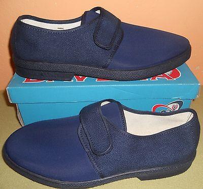 Collezione Qui Scarpe Pantofole Uomo Barca Mocassino Taglia 46 Velcro Tela Blu Antiscivolo