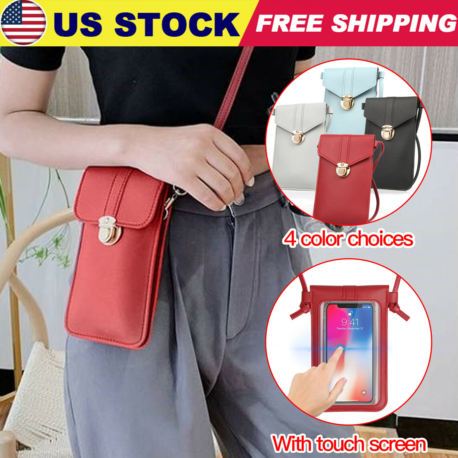 Ladies  Cross-body Wallet Purse PU Leather Coin Cell Phone Shoulder Bag P3