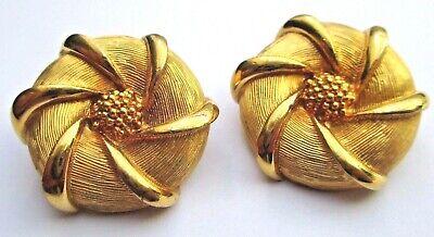 Umorismo Boucles D'oreilles Clips Bijou Vintage Couleur Or Gravé Relief Top Qualité 1986 Squisito Artigianato;