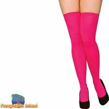 NEW WOMENS LADIES FENCE NET THIGH HIGH STOCKINGS FANCY DRESS PARTY 80/'S BLACK