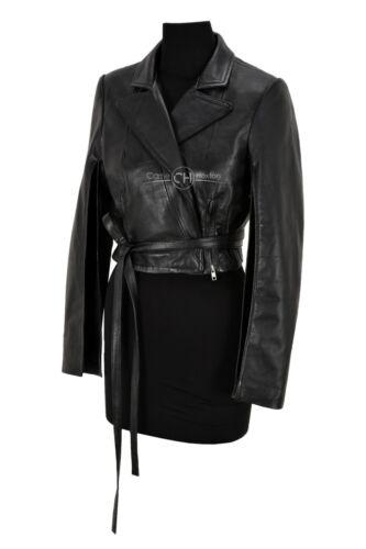 Gothic Ladies Tie Belt Cropped Jacket Black Slit Arm /& Back Real Leather Jacket