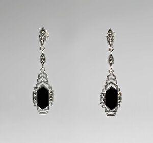 9927339-925er-Silber-Markasiten-Onyx-Ohrringe-L4-5cm