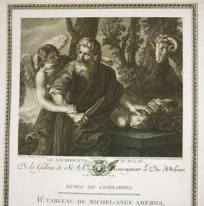 Michelangelo Michel-ange Amerigi Le Scrifice D'isaac Gravure Ed J Couché 1786 Bonne RéPutation Sur Le Monde