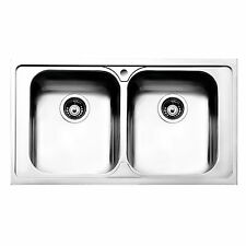 Lavello cucina doppia vasca incasso acciaio inox satinato 86x50cm Apell Venezia