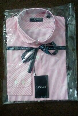 2 X Qualità Da Uomo Slim Fit Rosa A Righe Camicie Realizzato Nel Regno Unito, Dimensioni, 16s/41s-mostra Il Titolo Originale