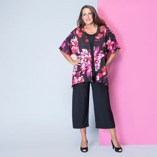 Styled By Print or Plain Kimono Style Jacket Indigo red floral S L XL M