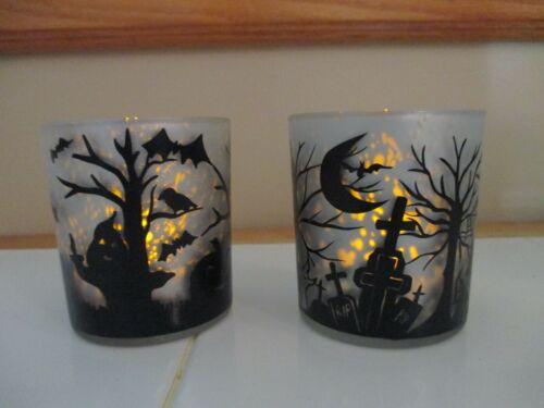 NEW Set of 2 White//Black Retro HALLOWEEN Scene Crackle Votive Candle Holder