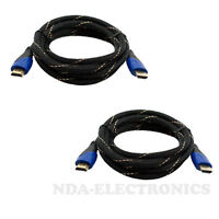 Lot 2 HDMI 6FT PREMIUM CABLE 1.4 1080P BLURAY 3D TV DVD PS3 XBOX HDTV 6 FEET NEW