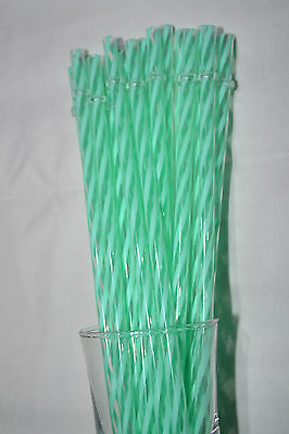 "11"" Inch Reusable Straws Swirly Mint Light Green Plastic Acrylic 11"" Rings"