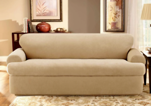 Details about NEW Stretch Pique 3 piece scatterback Sofa Slipcover Cream  t-cushion by sure fit