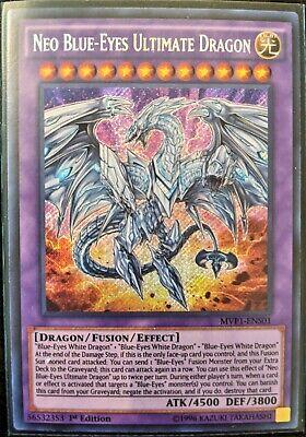 YGO-1x Secret Rare 1st QUASE PERFEITO-Neo Azul-Eyes Ultimate Dragon-MVP1-ENS01
