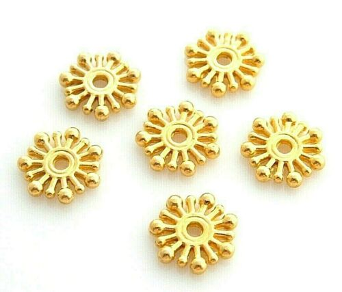 200 Bright Gold 10mm Retro Beaded Rondelle Snowflake Bali Spacer Disc Beads
