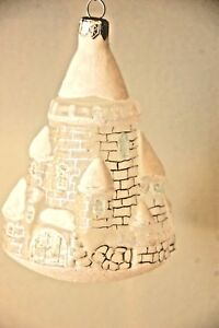 Bombay Company Flocked Glitter Castle Glass Ornament ...