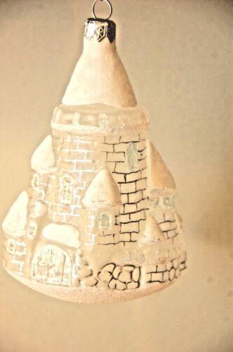 Bombay Company Flocked Glitter Castle Glass Ornament Christmas White