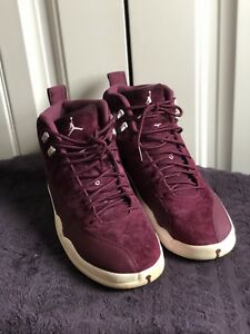 fedee3f7a48 Image is loading Air-Jordan-12-Retro-Bordeaux-Burgundy-White-130690-