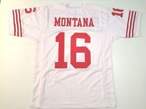 UNSIGNED CUSTOM Sewn Stitched Joe Montana White Jersey - M, L, XL ...