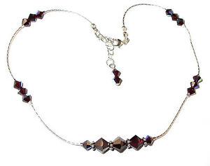 SWAROVSKI-Elements-CRYSTAL-ANKLET-Sterling-Silver-Ankle-Bracelet-GARNET-Deep-Red