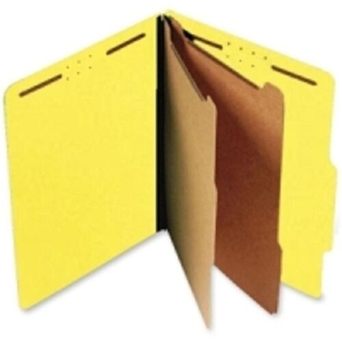Pressboard Classification Folders, Top Tab, Letter Size, Six Fasteners, Yellow