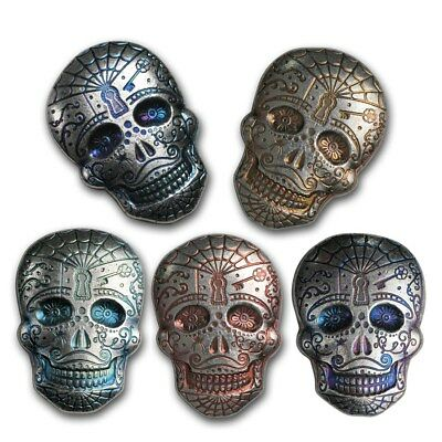 777 2 oz  Poured Silver Human Skull .999 Ag Art Bar Round