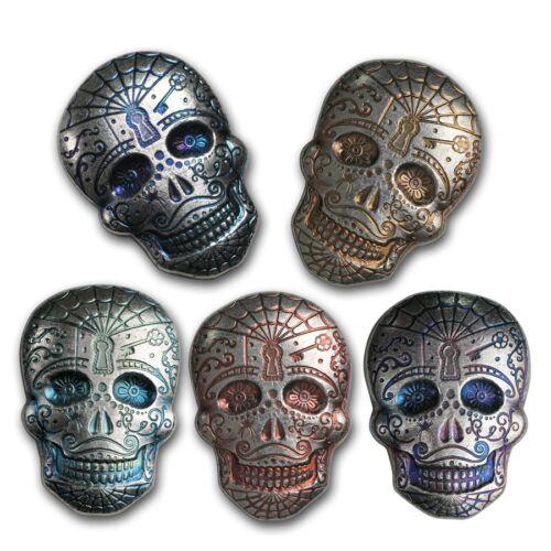 Hand Poured MPM Mint 2oz Silver Sugar Skull Day Of The Dead Spiderweb  3D Bar