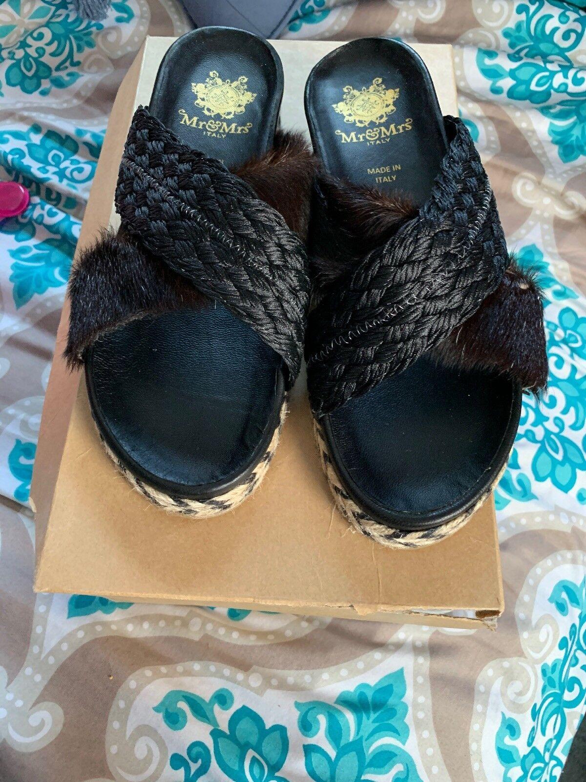 Aunthentic Mr & Mrs Womens Fur Flip Flops