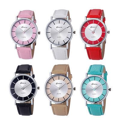 Geneva Moda De Mujer Retro Dial Cuero Analógico Cuarzo Reloj Pulsera GB