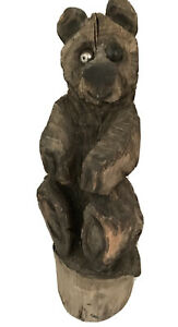 Chainsaw Carved Bear Carving Wooden Log Cabin Rustic Country Black & Silver Eyes