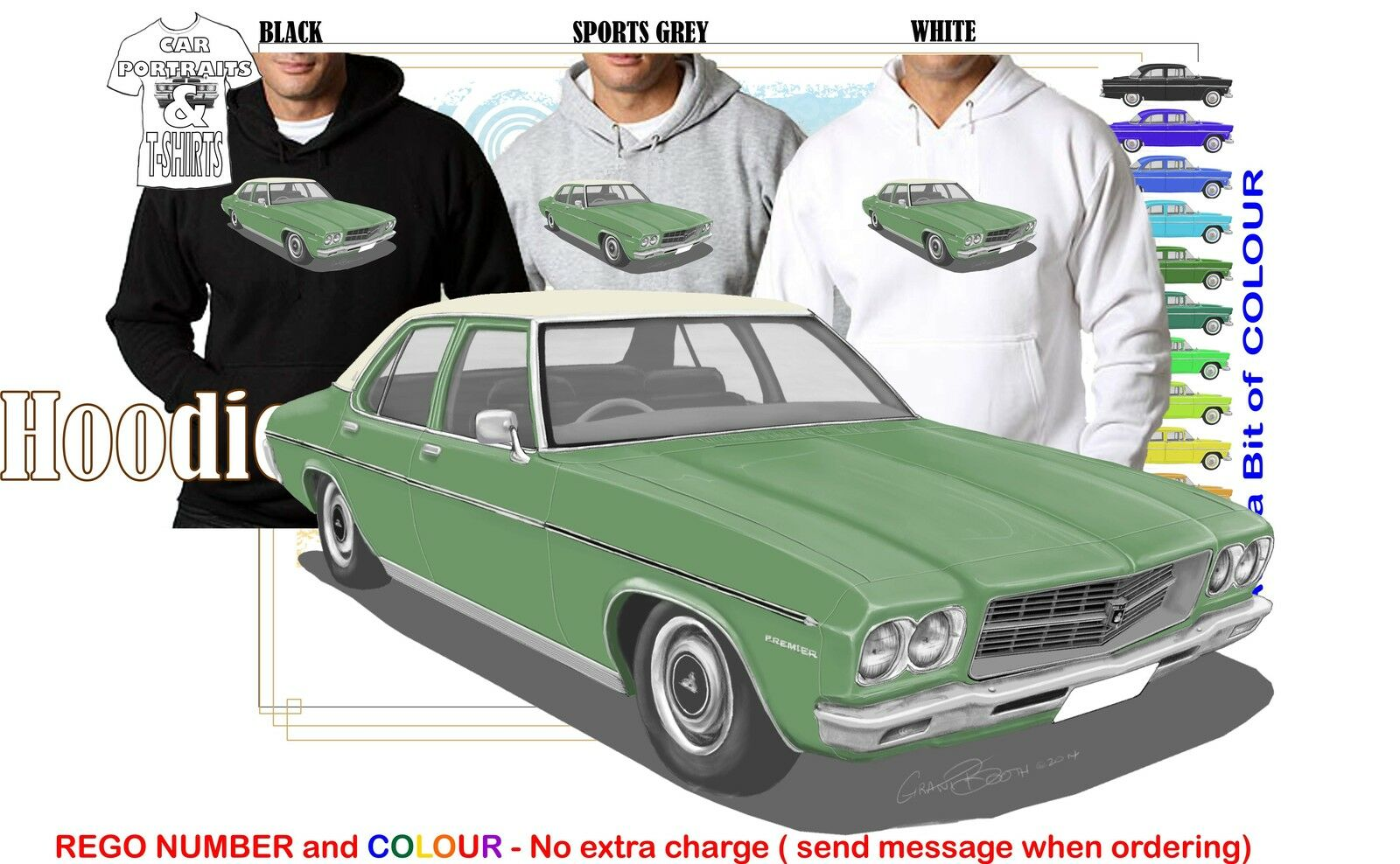 71-74 HQ HOLDEN PREMIER HOODIE ILLUSTRATED CLASSIC RETRO MUSCLE SPORTS CAR