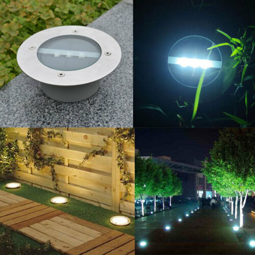 Solar Power 3 LED Buried Stainless Steel Lamp Light Path Way Yard In Ground Deck