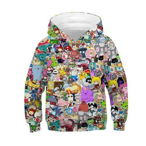 new Kids Girls Boys 3D Print Hoodie Pullover Hooded Sweatshirt Hoody Jacket