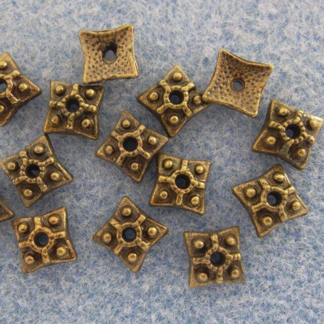 Bronze Alloy Metal Square Bead Caps 50 Pieces 7.5mm #0067