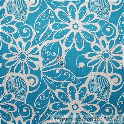 BonEful Fabric FQ Cotton Quilt Blue White Flower Tree French Country Victorian L
