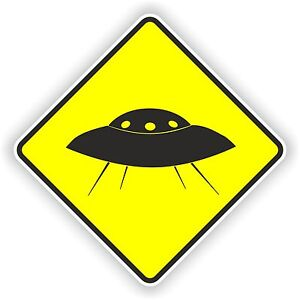 U.F.O. UFO warning yellow sticker alien space nasa car bumper decal funny danger