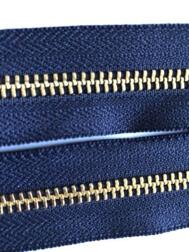 bleu marine ruban or//laiton DENTS taille//NO-5 36 pouces//91 cm OUVERTE YKK Fermetures à glissière