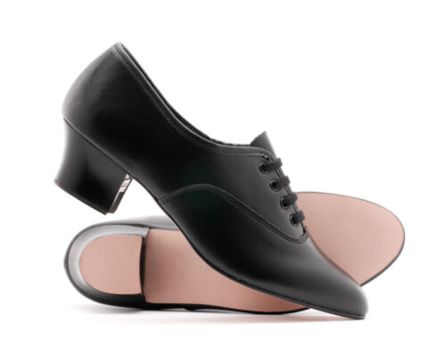 Girls Ladies Black Leather Stage Dance Oxford Tap Shoes All Sizes Katz Dancewear