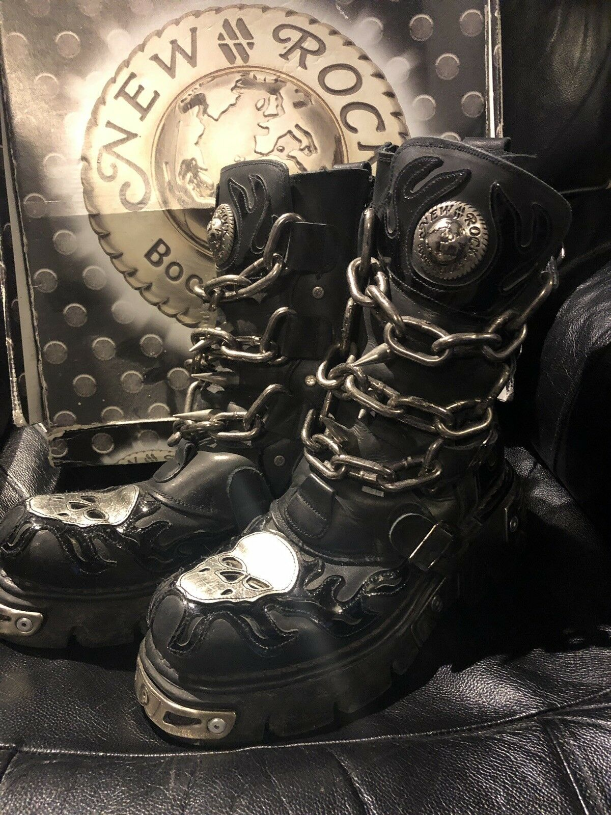 New Rock 727 Unisex Boots With Skull