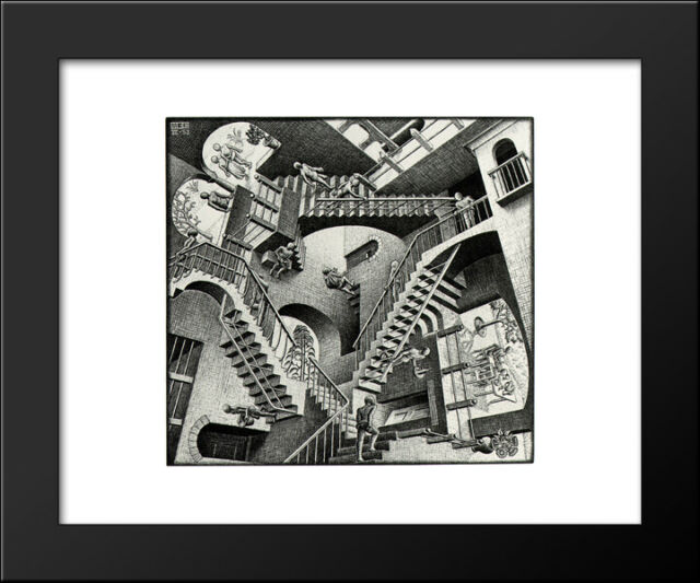 C Escher Fantasy Weird Odd B/&W Art Print Poster 17.75x31.25 House of Stairs M