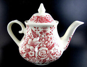 ENGLISH-IRONSTONE-TEA-POT-RED-FLOWERS-MADE-IN-ENGLAND-E39