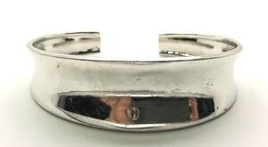 Vintage-Oxidized-Sterling-Silver-Modernist-Scalloped-Cuff-Bangle-Signed-039-039-OTC-039-039