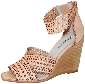 Details about Jeffrey Campbell Besante Natural Leather Perforated Wedge Sandal Heel Sz 9 Sh