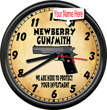 Personalized Custom Gunsmith Firearms Pistol Gun Shop Sales Retro Wall Clock
