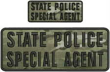 State police Special agent embroidery patch 4x10 and 2x5 hook on back multicam