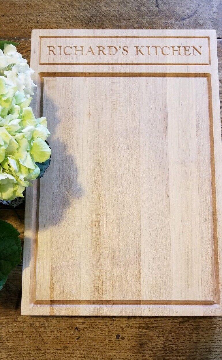Hard Maple Cutting Board 12 x 18 NEW  Monogrammed Inscribed Richard's Kitchen