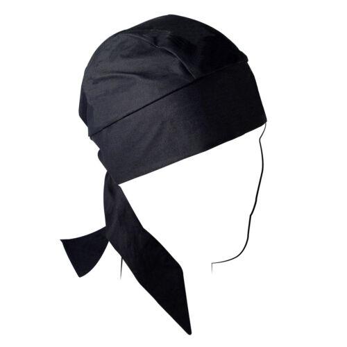 Large Solid Black Sweatband Stretch Premium Head Wrap Cap Biker Durag Doo Rag
