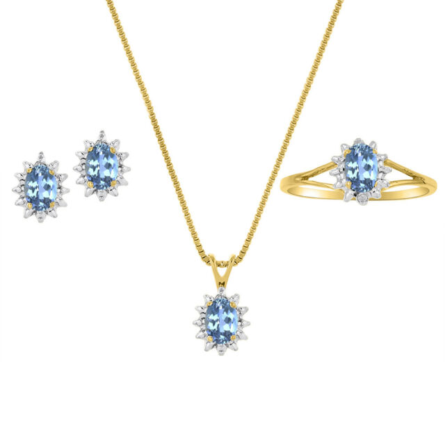 Blue topaz diamond pendant in 14k yellow gold ebay blue topaz diamond pendant earrings ring in 14k yellow gold aloadofball Image collections